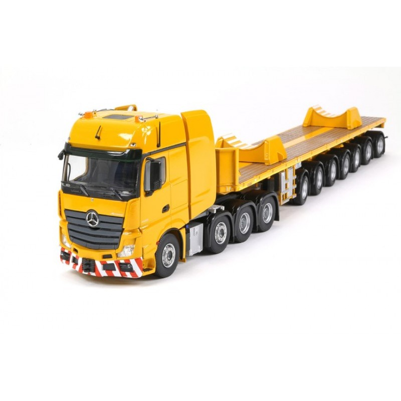Yellow Series Mercedes Actros2 Gigaspace 8X4 With Nooteboom 7 Axle Ballasttrailer And Boom Saddles