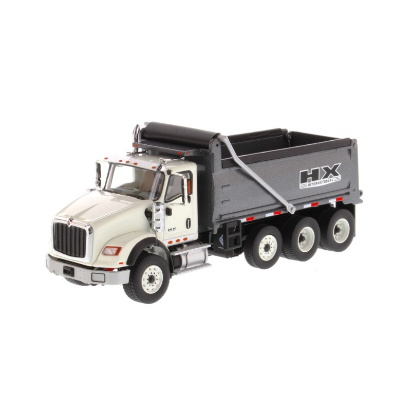 International Hx620 Dump Truck White Cabin Dump Body Gun Metal