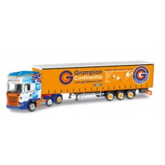 Grampian Continental Scania R 2013 curtain canvas semitrailer 1/64 Scale