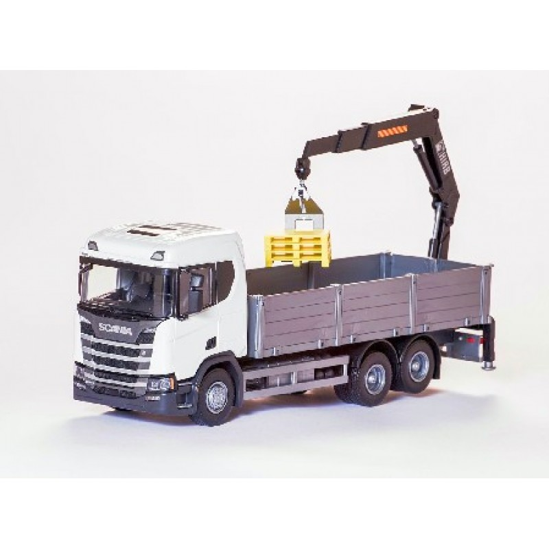 Scania Cr 500 Ng Open Platform With Crane - White 1:25 Scale