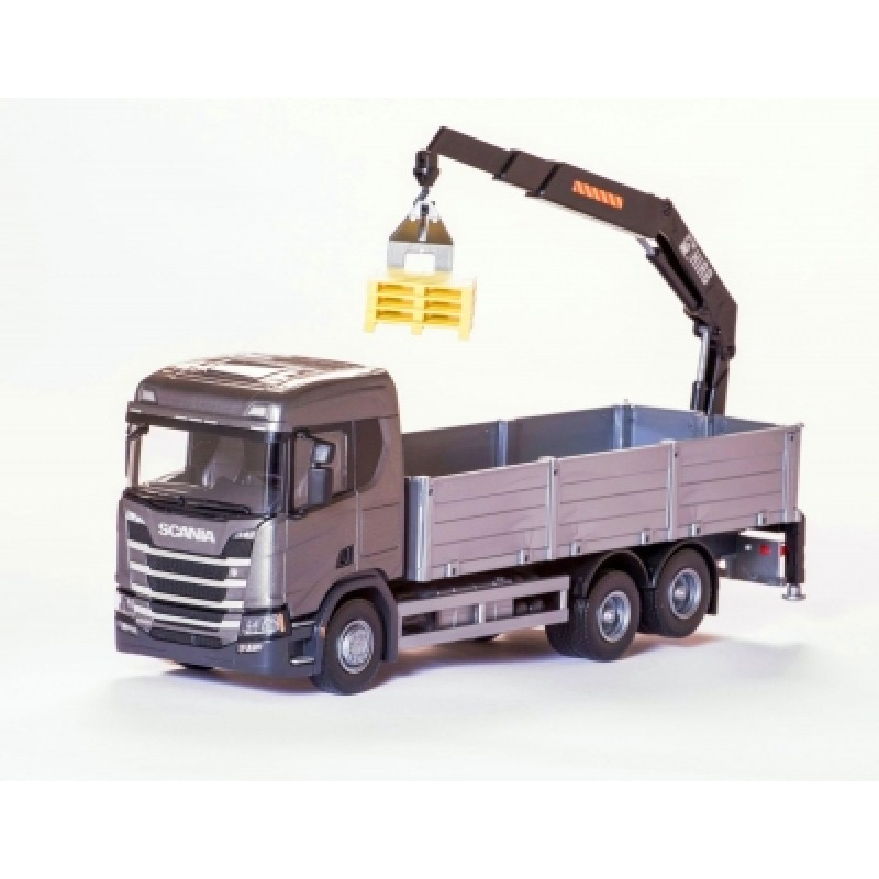 Scania Cr 500 Ng Open Platform With Crane - Gray 1:25 Scale