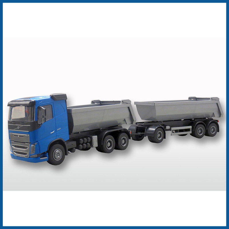 Volvo FH04 Blue Cab New Dump Truck Trailer 1:25 Scale