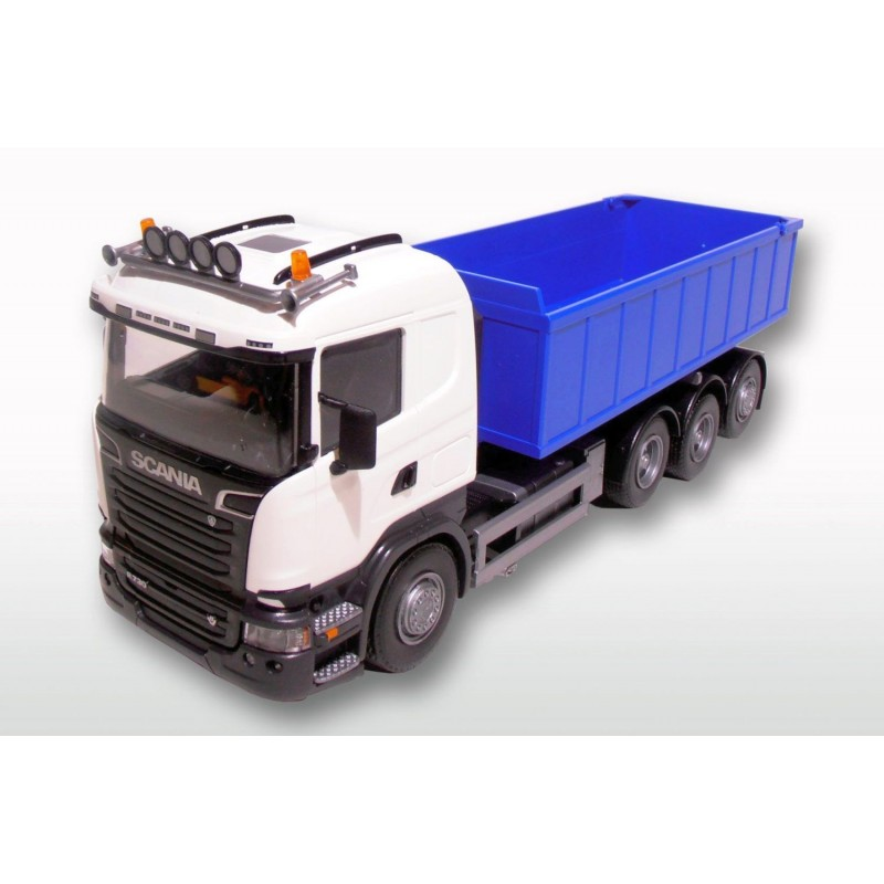 Scania R 8x4 White Cab Blue Roll Off Container 1:25 Scale