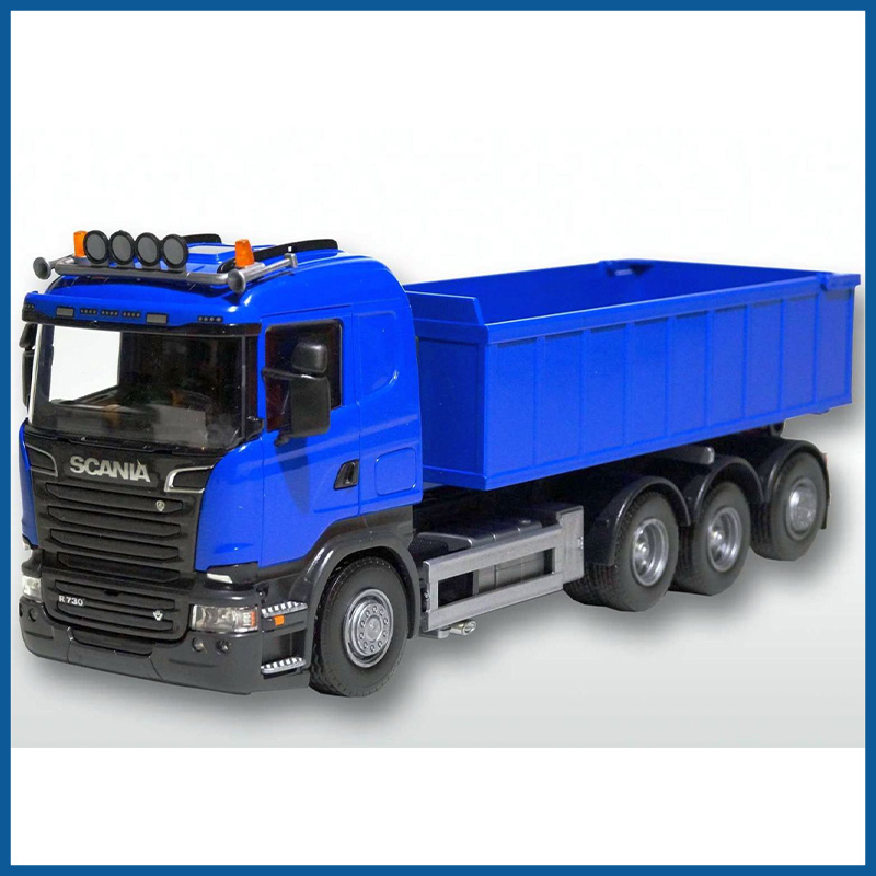 Scania R 8x4 Blue Cab Blue Roll Off Container 1:25 Scale