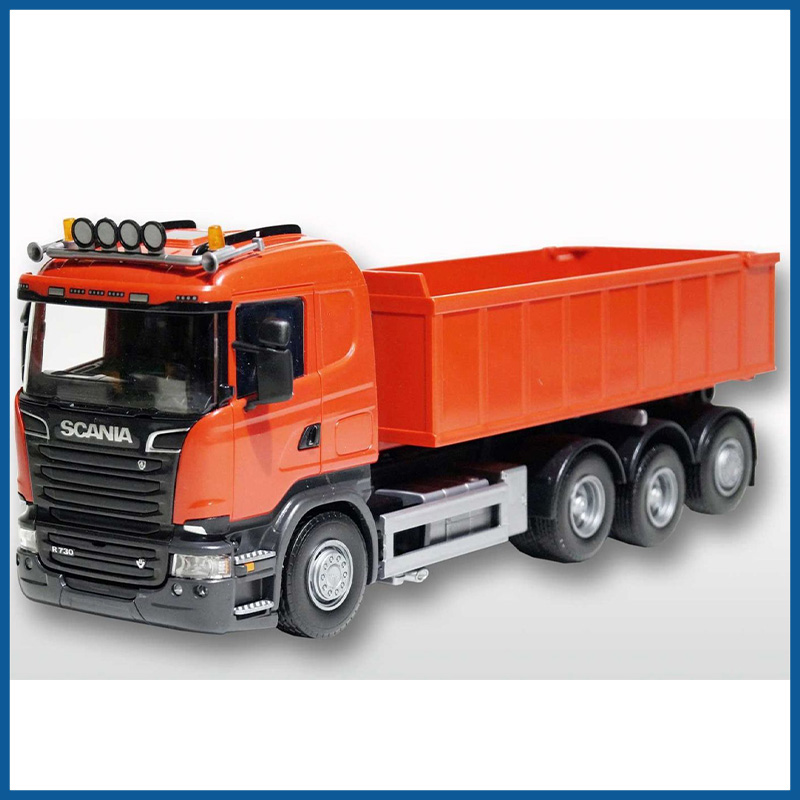 Scania R 8x4 Orange Cab Orange Roll Off Container 1:25 Scale