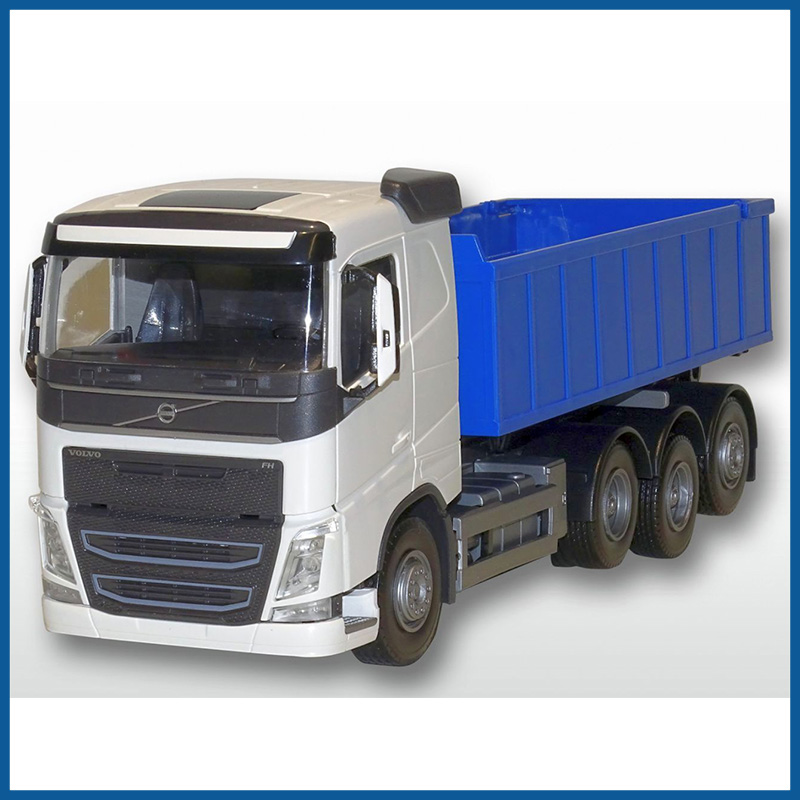 Volvo FH04 8x4 White Cab Blue Roll Off Container 1:25 Scale