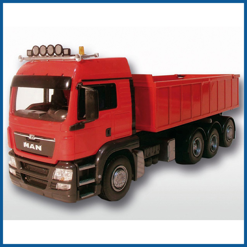 MAN TGS 8x4 Red Cab Red Roll Off Container 1:25 Scale
