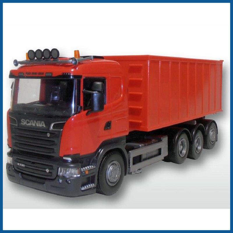 Scania R 8x4 Red Cab Red Roll Off Container 1:25 Scale