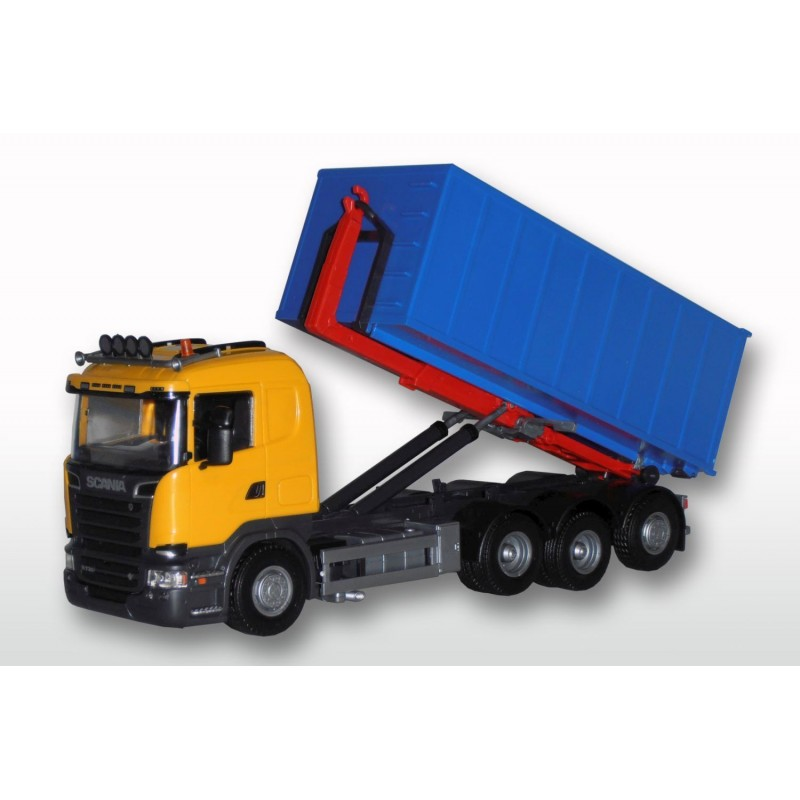 Scania R 8x4 Yellow Cab Roll Off Blue Large Container 1:25 Scale