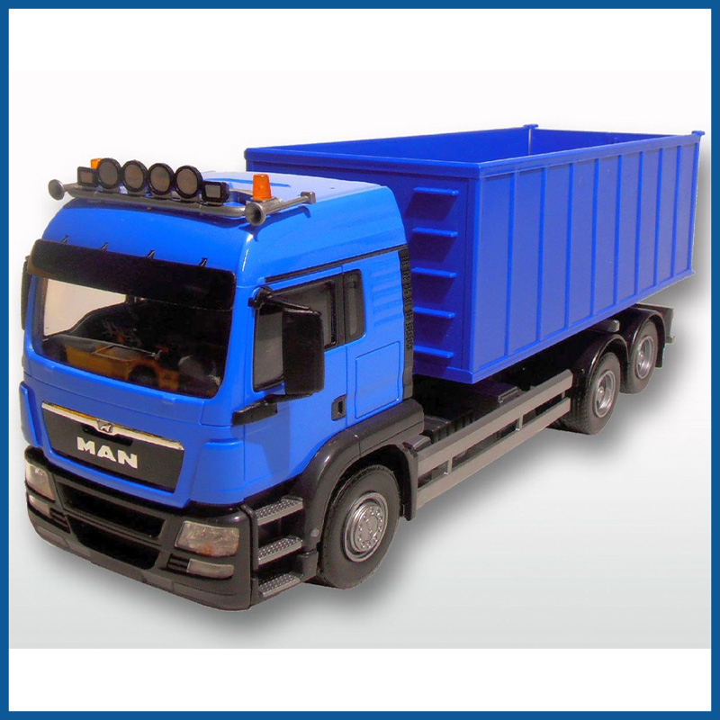 MAN TGS Blue Cab Blue Roll Off Container 1:25 Scale