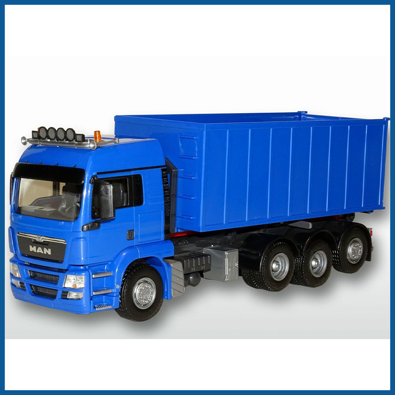 MAN TGS 8x4 Blue Cab Blue Roll Off Container 1:25 Scale