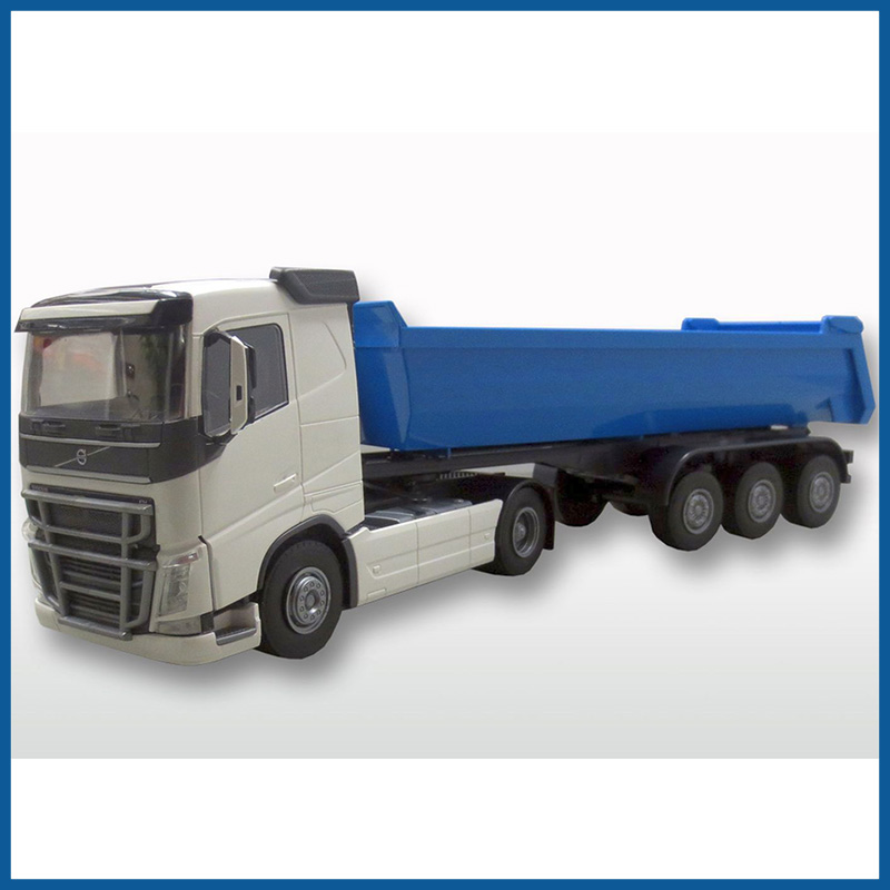 Volvo FH04 4x2 White Cab With 3 Axle Tipper Trailer 1:25 Scale