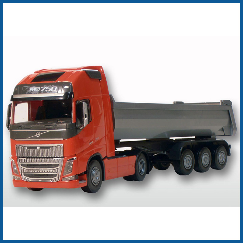 Volvo FH04 GL 4x2 Red Cab With 3 Axle Tipper Trailer 1:25 Scale