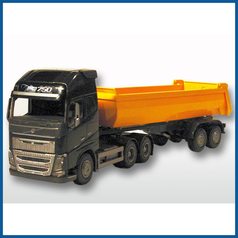 Volvo FH04 GL 4x2 Black Cab With Yellow 3 Axle Tipper Trailer 1: