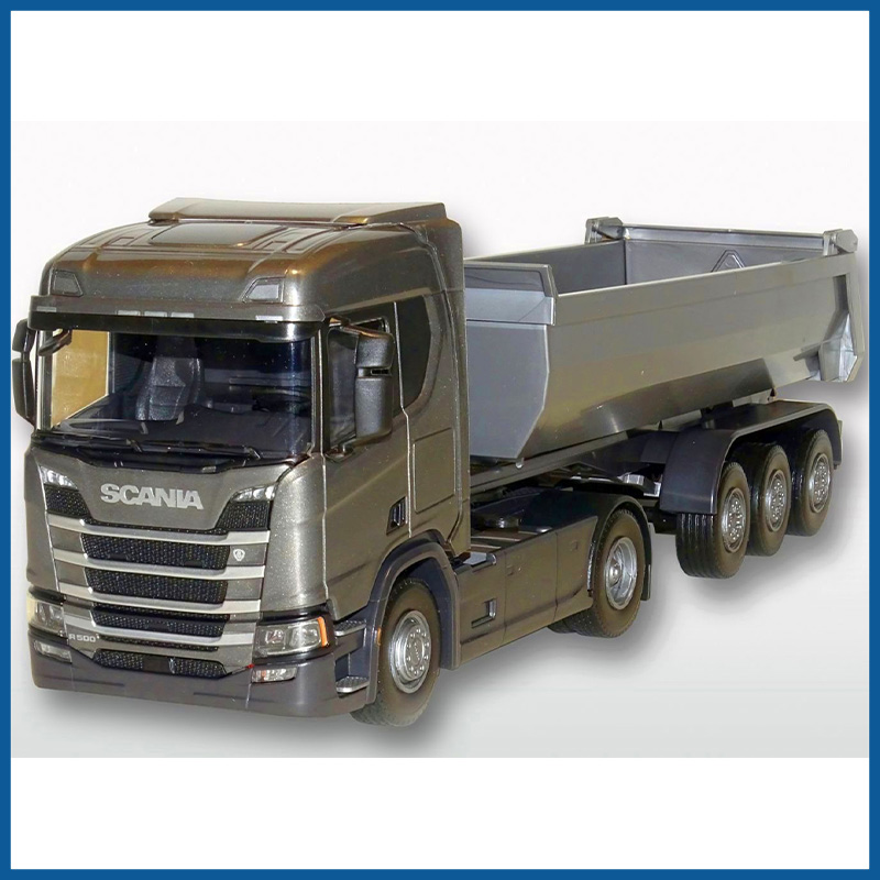 Scania R500 Gray Geen Cab Next Gen HL 4x2 3 Axle Tipper 1:25 Sca