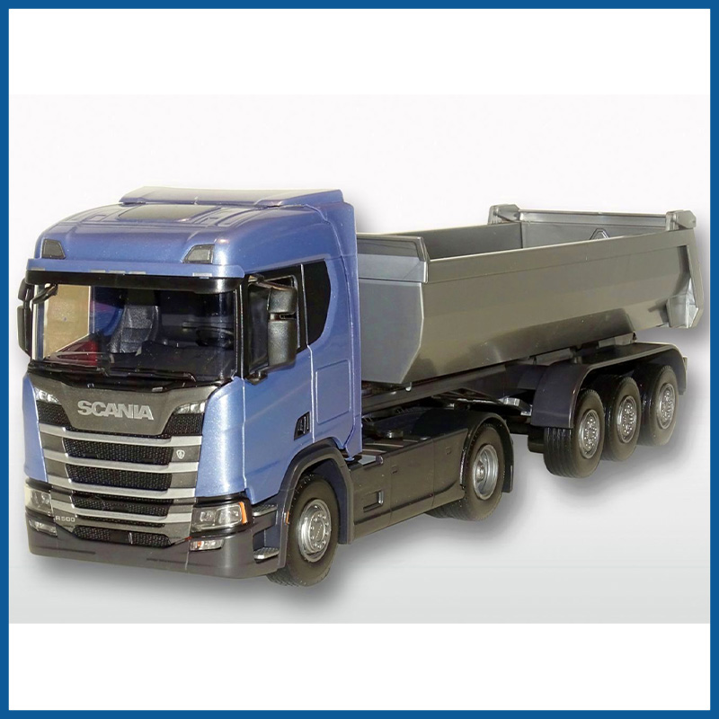 Scania R500 Blue Cab Next Gen HL 4x2 3 Axle Tipper 1:25 Scale