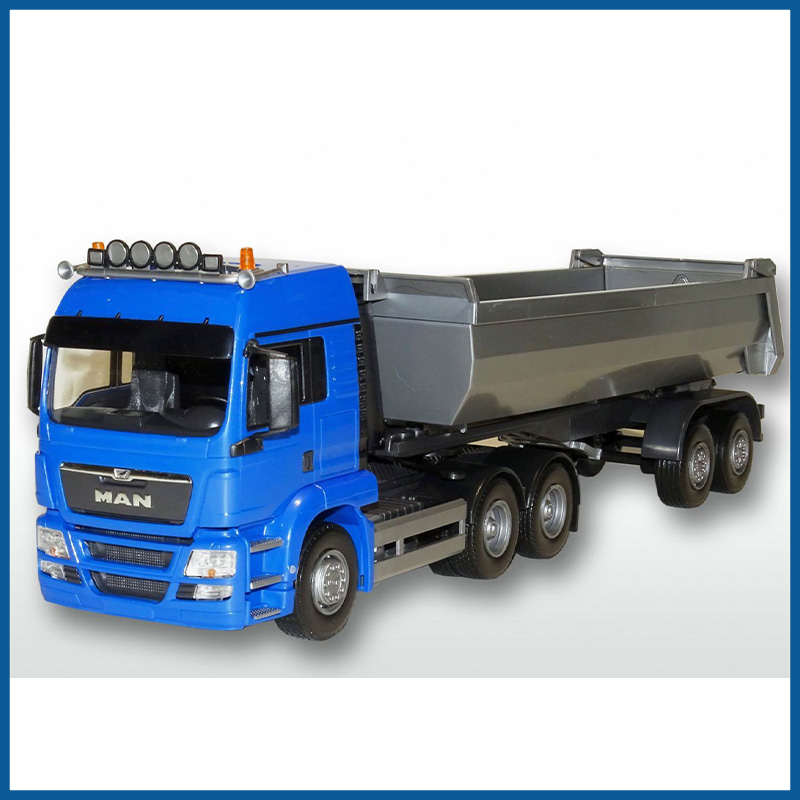 MAN TGS LX 3x2 Blue Cab 2 Axle Tipping Trailer 1:25 Scale
