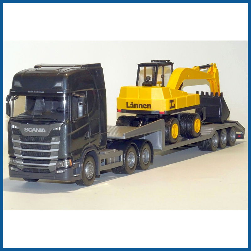Scania S Next G 6x4 Grey Cab Low Loader and Excavator 1:25 Scale