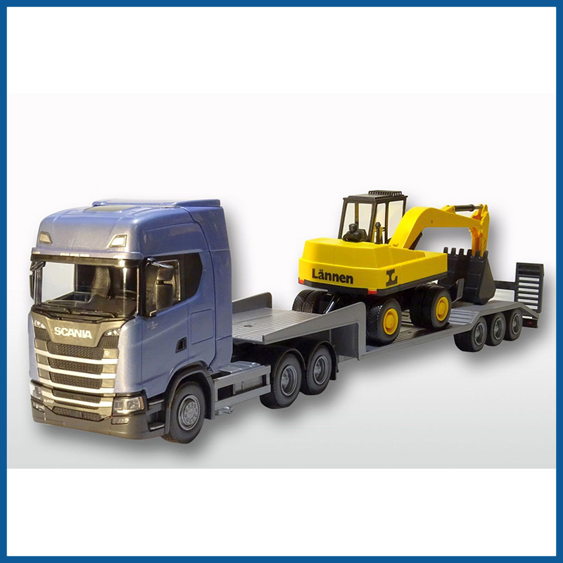 Scania S Next G 6x4 Blue Cab Low Loader and Excavator 1:25 Scale