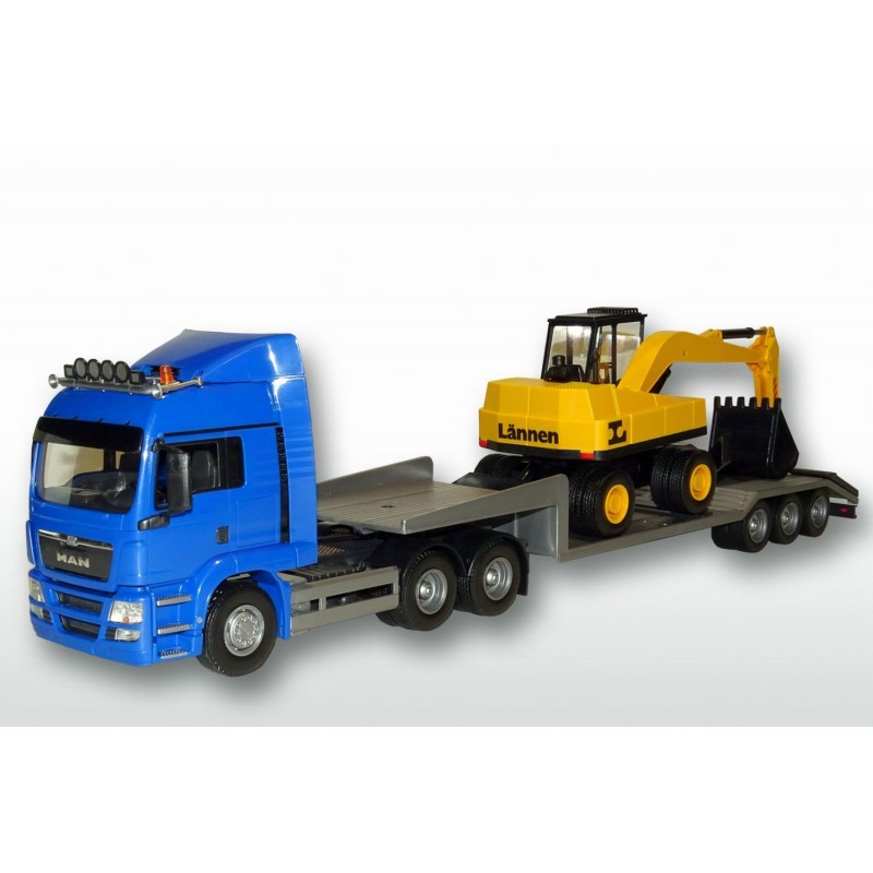 MAN TGS 6x4 Blue Cab Low Loader and Excavator 1:25 Scale