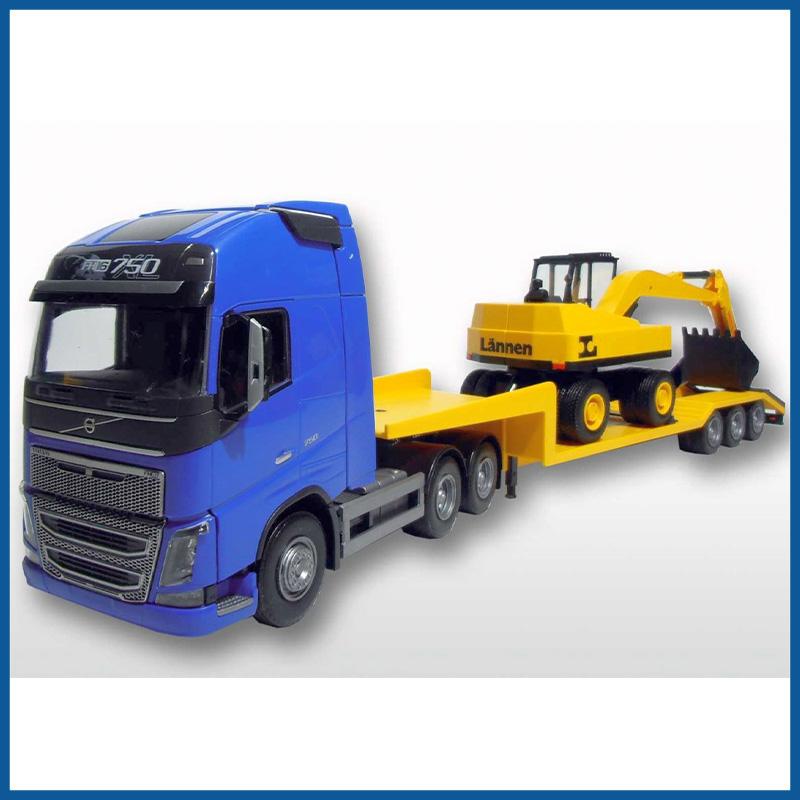 Volvo FH 6x4 Blue Cab Low Loader and Dreischsiger Dumper Truck L