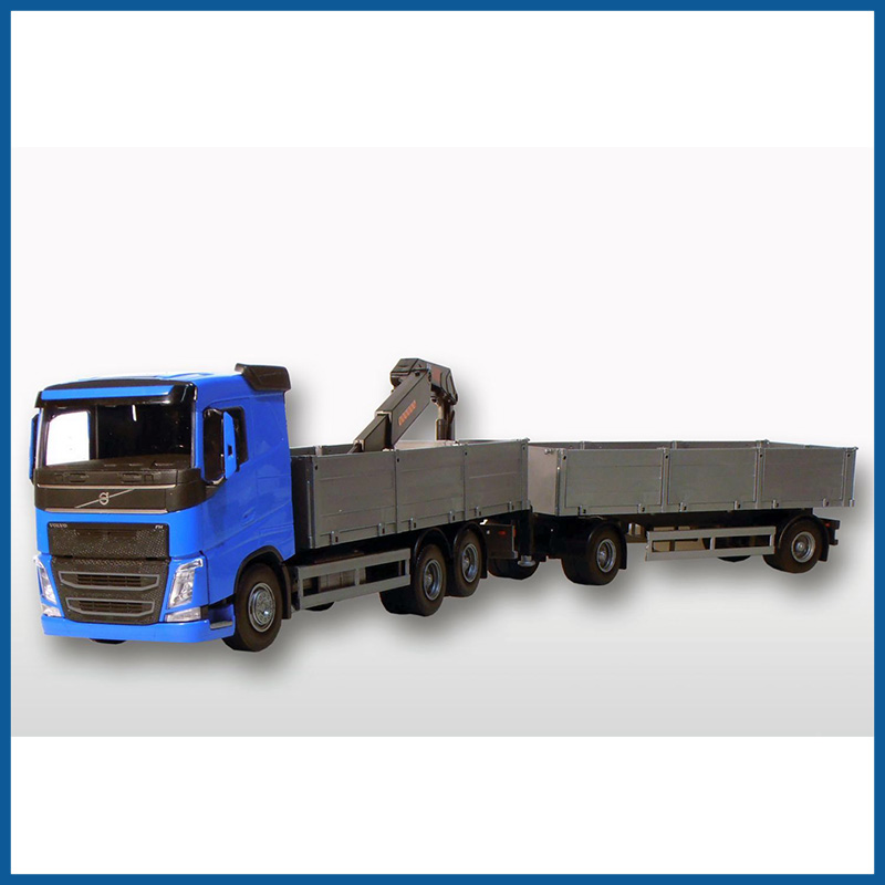 Volvo FH04 6x2 Blue Cab Open Platform HIIAB with Trailer 1:25 Sc