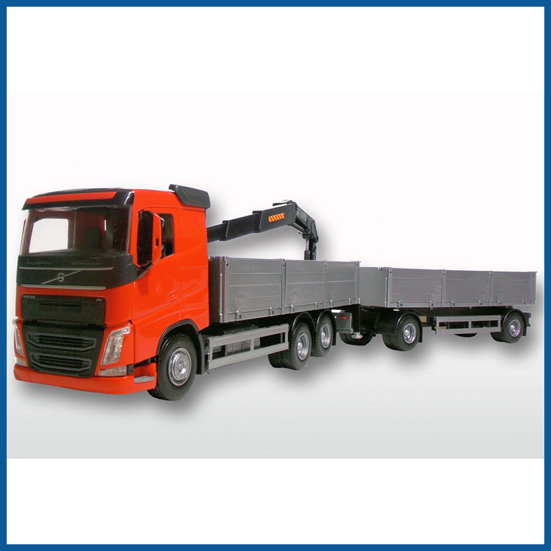 Volvo FH04 6x2 Red Cab Open Platform HIIAB with Trailer 1:25 Sca