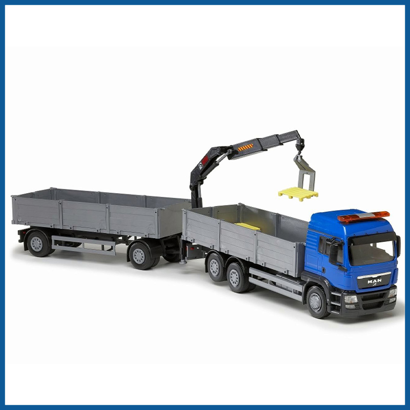 MAN TGS LX 6x2 Blue Cab Open Platform HIIAB With Trailer 1:25 Sc