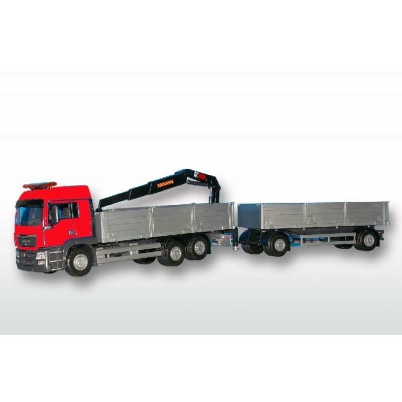 MAN TGS LX 6x2 Red Cab Open Platform HIIAB With Trailer 1:25 Sca