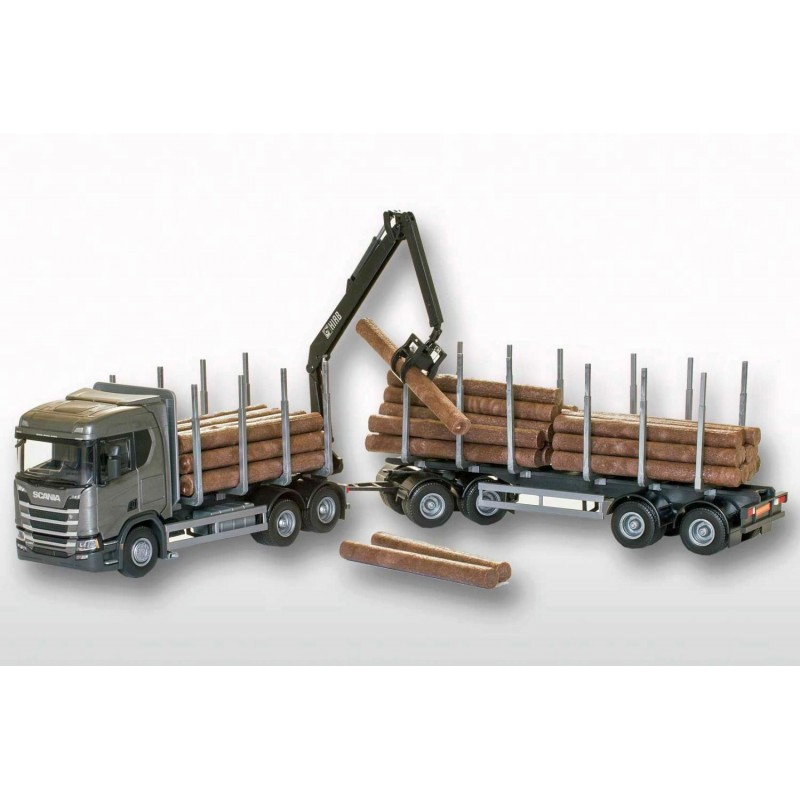 Scania R500 Grey Cab 6x4 Timber Trailer HIIAB 1:25 Scale