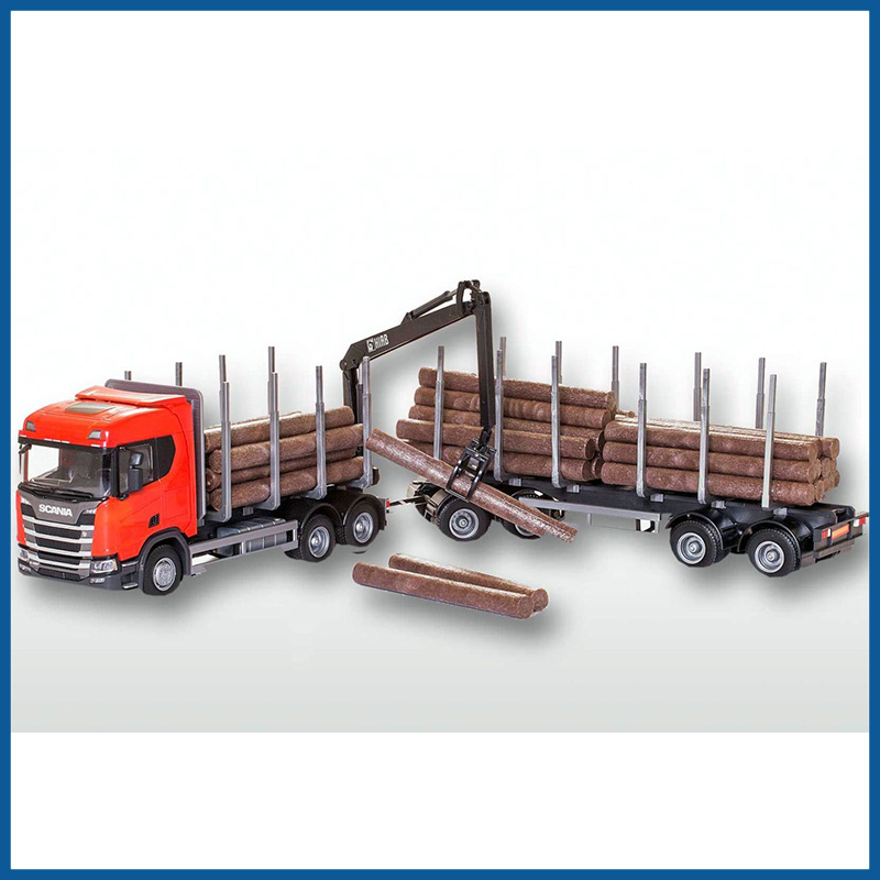 Scania R500 Red Cab 6x4 Timber Trailer HIIAB 1:25 Scale