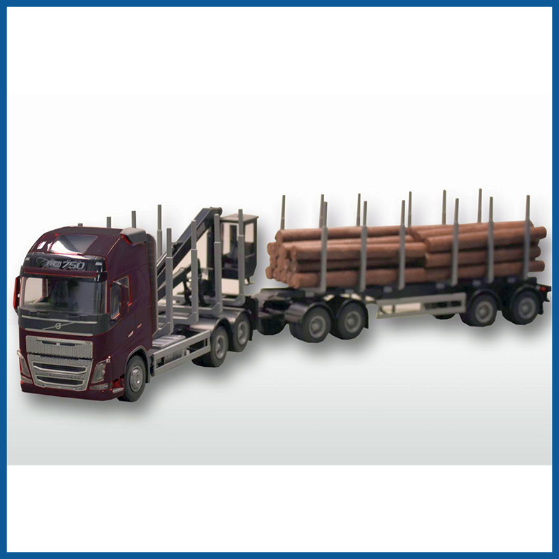 Volvo FH04 Black Cab 6x4 Timber Trailer HIIAB 1:25 Scale