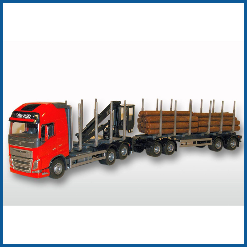 Volvo FH04 GL Red Cab 6x4 Timber Trailer HIIAB 1:25 Scale