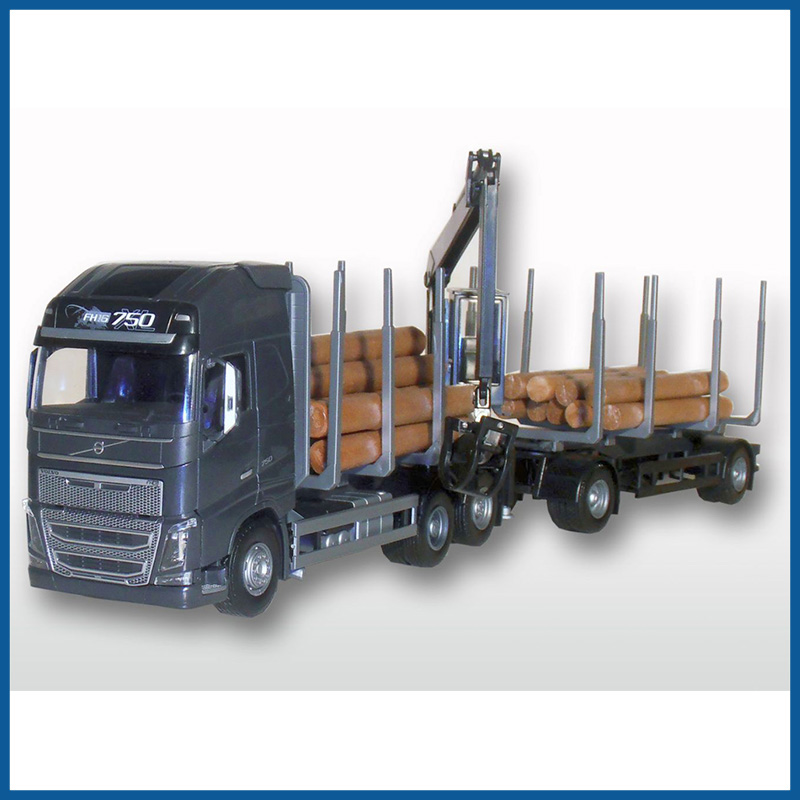 Volvo FH04 GL Black Cab 6x4 Timber Trailer HIIAB 1:25 Scale