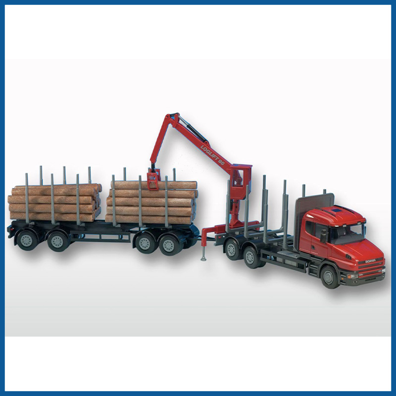 Scania T Red Cab 6x4 Timber Trailer HIIAB 1:25 Scale