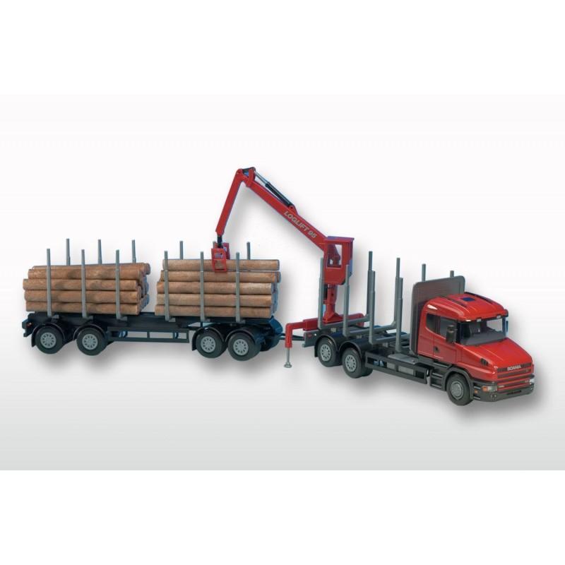 Scania T Red Cab 6x4 Timber Trailer HIIAB