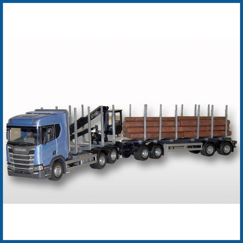 Scania CR500 6x4 Blue Cab Timber Trailer HIIAB 1:25 Scale
