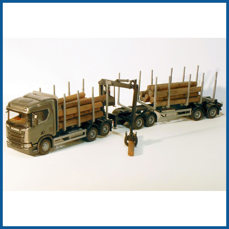 Scania CR730 V8 6x4 Grey Green Cab Timber Trailer HIIAB 1:25 Sca