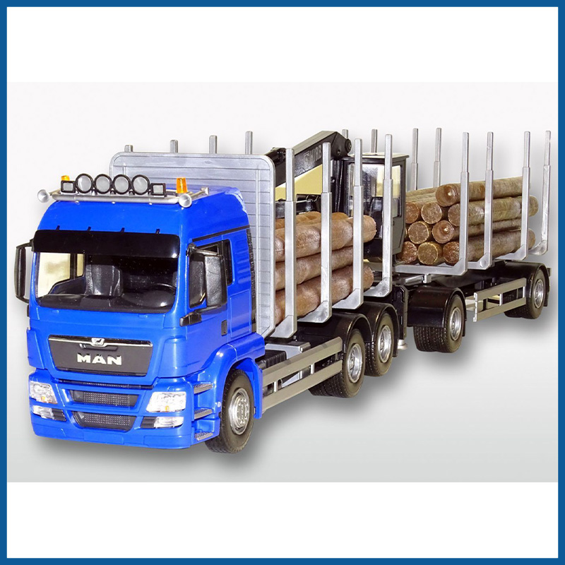 MAN TGS LX 6x4 Blue Cab Timber Trailer HIIAB 1:25 Scale