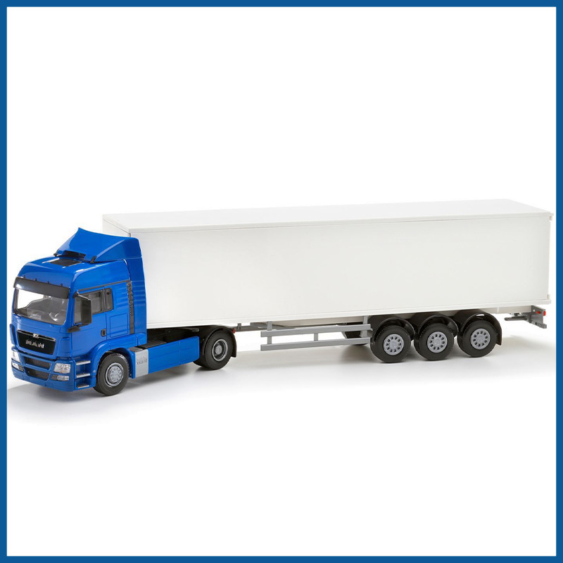 MAN TGS LX 4x2 Blue Cab With 3 Axle Box Trailer 1:25 Scale