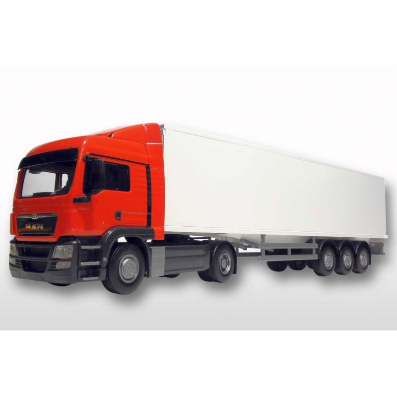 MAN TGS LX 4x2 Red Cab With 3 Axle Box Trailer