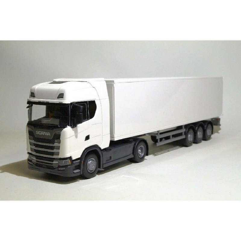 Scania CS410 4x2 White Cab With Box Trailer 1:25 Scale
