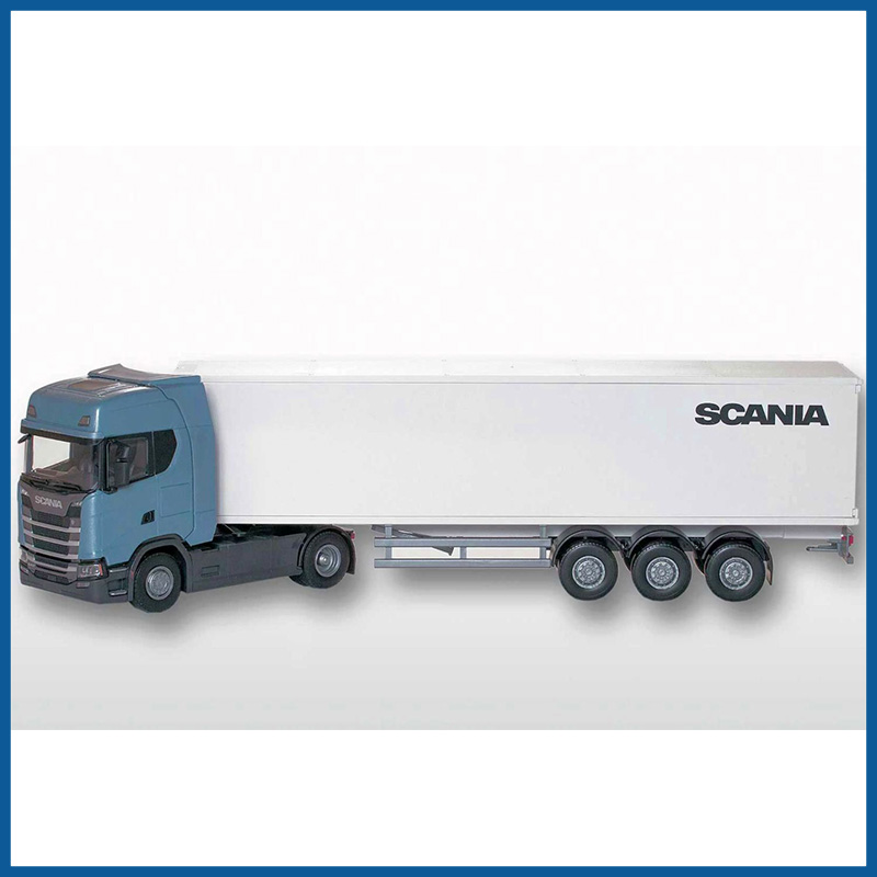 Scania CS410 4x2 Blue Cab With Box Trailer 1:25 Scale