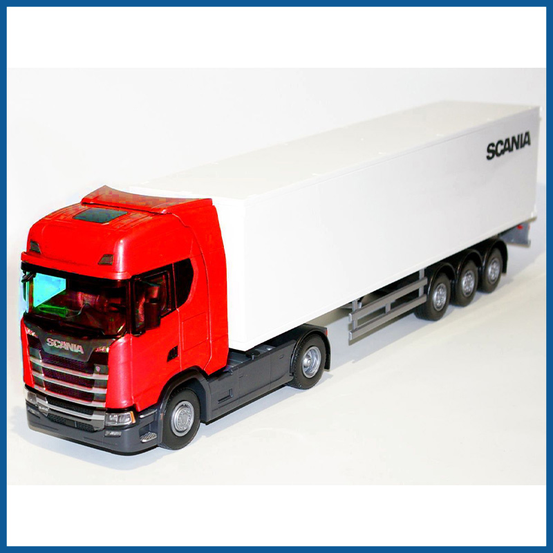 Scania CS410 4x2 Red Cab With Box Trailer 1:25 Scale