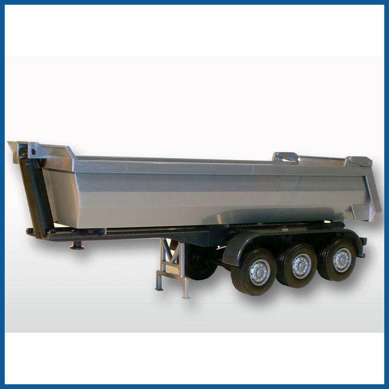 3 Axle Silver Dumper Trailer 1:25 Scale